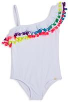 Pilyq Girls' One Shoulder Ruffled Pom-Pom One Piece Swimsuit - Little Kid, Big Kid