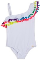 Pilyq Girls' One Shoulder Ruffled Pom-Pom One Piece Swimsuit - Sizes 2-16