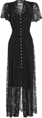 Paco Rabanne Crystal Button Lace Midi Dress