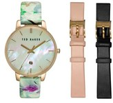 Ted Baker Women's Round Dial Leather Strap Watch Set, 40Mm