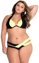 BIFINI Women's Black Criss Cross Bandage Push Up Plus Size Bikini Swimsuit