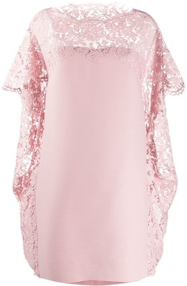 Valentino Lace Cape Shift Dress