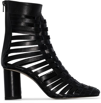 MATÉRIEL 75mm Woven Leather Ankle Boots