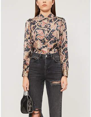 The Kooples Paisley-print silk-satin shirt