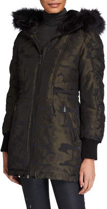 DKNY High-Low Camo Anorak Coat With Faux Fur