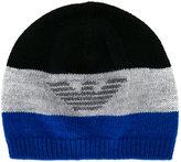 Armani Junior logo knitted beanie