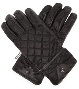 Bogner Cyra Quilted Leather-panel Technical Gloves - Womens - Black