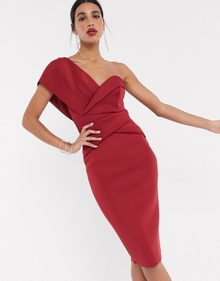 ASOS DESIGN one shoulder cross over pencil midi dress in oxblood