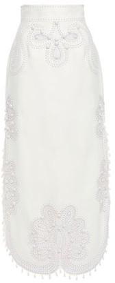 Zimmermann Ninety-six Appliqued Embroidered Linen Midi Skirt