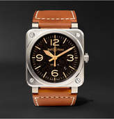 Bell & Ross Br 03-92 Golden Heritage 42mm Steel And Leather Watch - Tan