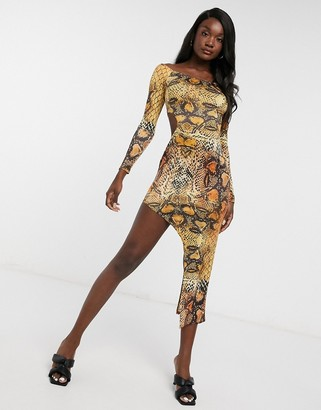 I SAW IT FIRST side cut-out bardot maxi dress in orange snake