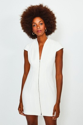 Karen Millen Plunge Neck Zip Front Dress