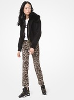 MICHAEL Michael Kors Faux Fur-Collar Wool Bomber Jacket