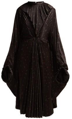 Vetements Floral-print Pleated Dress - Black Multi