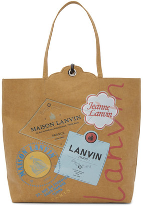 Lanvin Beige and Yellow Shopping Tote