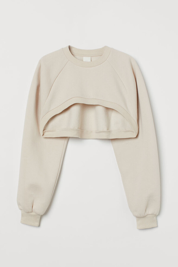 H&M Crop Sweatshirt - Beige