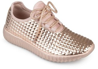 Brinley Co. Womens Faux Leather Lace-up Embossed Lightweight Sneakers