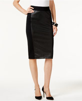 INC International Concepts Faux-Leather-Front Pencil Skirt, Only at Macy's