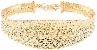 Shop Lc Diamond Cut Bead Bangle Bracelet in Yellow Gold 7-8