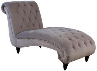 Abbyson Living Lynda Velvet Chaise, Gray