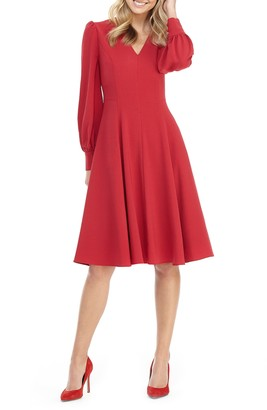 Gal Meets Glam Layla Long Sleeve Fit & Flare Dress