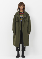 Marni dark olive drawstring collar coat