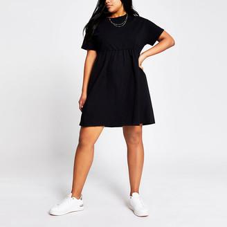 River Island Plus black poplin mini T-shirt dress