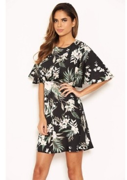 AX Paris Women's Floral Flute Sleeve Dress