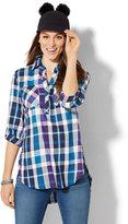 New York & Co. Soho Soft Shirt - Side-Button Hi-Lo Tunic - Metallic Plaid