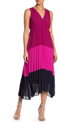 Taylor Pleated Colorblock High/Low Maxi Dress
