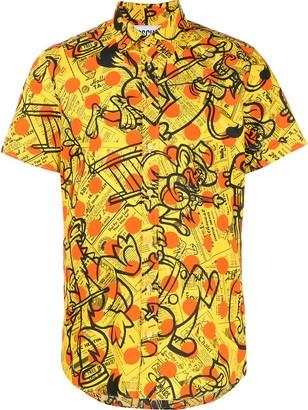 Moschino newspaper and polka-dot print shirt