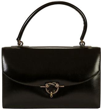 One Kings Lane Vintage Hermes 1962 Box Calf Black Handbag - Vintage Lux