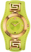 Versace V-Signature Watch w/ Leather Strap, Golden/Yellow