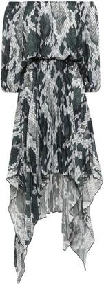 Just Cavalli Asymmetric Off-the-shoulder Snake-print Crepe De Chine Dress