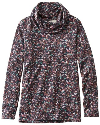 L.L. Bean Women's Pima Cotton Tee, Long-Sleeve Cowlneck Print