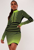 Missguided Premium Green Optical Stripe Bandage High Neck Mini Dress