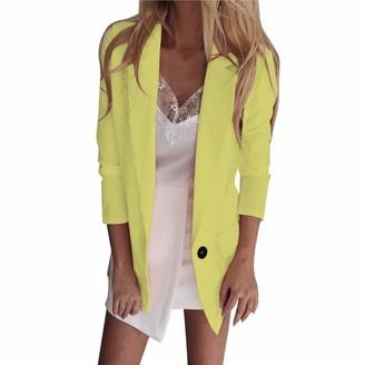 Kalorywee Sale Cleance Blazer KaloryWee Pink Blazer Women Long Sleeve Linen Feel Casual Work Formal Suit Smart Jacket Coat