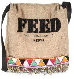 FEED Beaded Burlap Messenger Bag