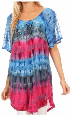 Sakkas 16786 - Monet Long Tall Tie Dye Ombre Embroidered Cap Sleeve Blouse Shirt Top - Mint - OS