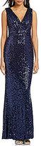 Belle Badgley Mischka Sleeveless V-Neck Sequined Gown