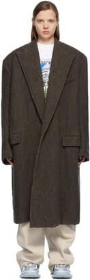 Balenciaga Brown & Black Wool Large Destroyed Coat