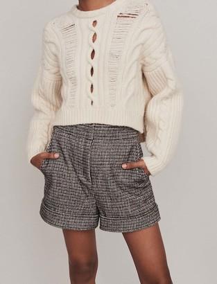 Maje Wool houndstooth shorts