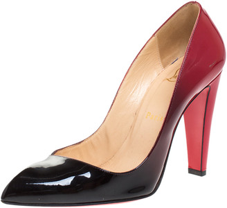 Christian Louboutin Black/Red Ombre Patent Leather Corneille Pointed Toe Pumps Size 37.5