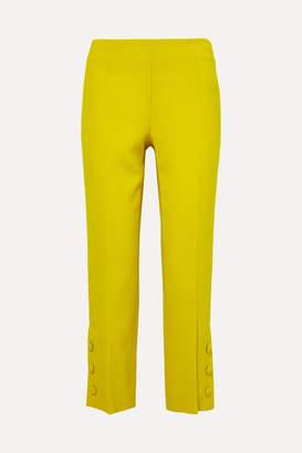 Lela Rose Button-embellished Wool-crepe Straight-leg Pants - Yellow