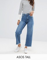 Asos Tall Cropped Wide Leg High Rise Jean With Chewed Hems