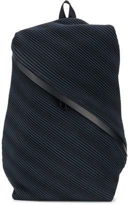 Pleats Please Issey Miyake Pleated Diagonal Zip Backpack