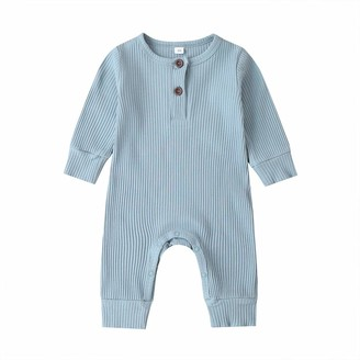 Longfei Infant Baby Boys Girls Clothes Knitted Romper Jumpsuit Bodysuit One-Piece Pajamas Ribbed Outfit Clothing (Grey 0-3 Months)