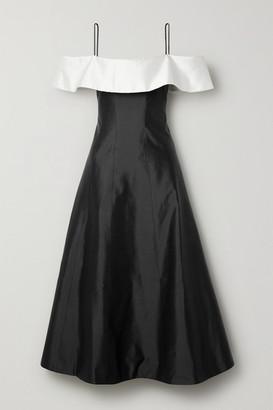 Rasario Off-the-shoulder Two-tone Silk-shantung Midi Dress - Black