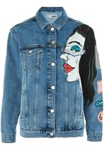 Topshop Moto premium painted denim jacket