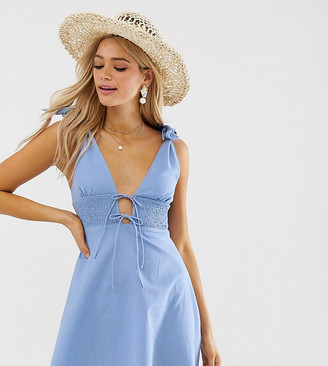 Asos Tall DESIGN Tall tie shoulder plunge mini sundress with shirred waist-Blue